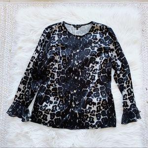 St. John Black Leopard Silk Blouse